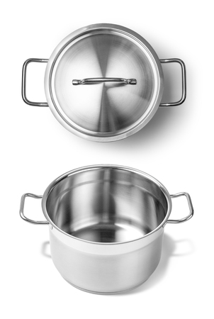 stainless steel background: Stainless steel pot without cover. Isolated on white background Stock Photo