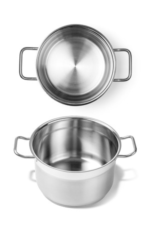 stainless: Stainless steel pot without cover. Isolated on white background Stock Photo