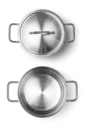 pot: Stainless steel pot without cover. Isolated on white background Stock Photo
