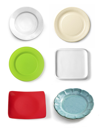 trompo de madera: Different tableware isolated  on white background