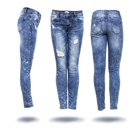 jeans femme à fond blanc Banque d'images