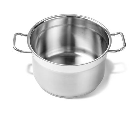 stainless steel pot: Stainless steel pot without cover. Isolated on white background  with clipping path