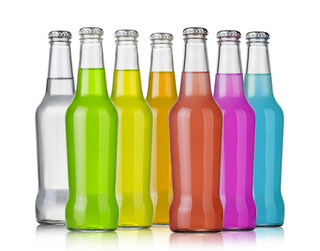 soft drinks: Bottles with soft drinks, isolated on a white background