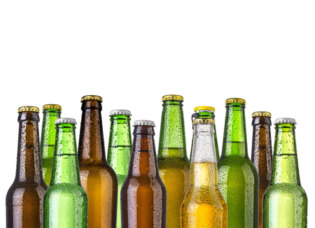 green glass bottle: Frosty bottles of beer isolated on a white background
