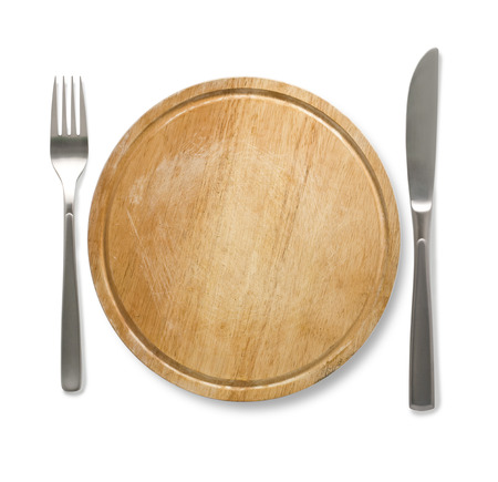 knife fork: Dinnerwooden  plate with cutlery: knife and fork, isolated on white Stock Photo