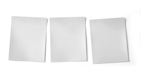 recollection: Three blank photo frames isolated on white background. with clipping path
