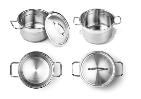 stainless steel pot: Stainless steel pot without cover. Isolated on white background Stock Photo
