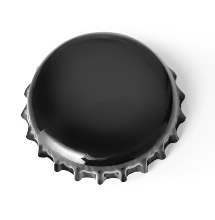 directly above: A black metal bottle cap used on glass bottles. Shot directly above, isolated on white background.With clipping path Stock Photo