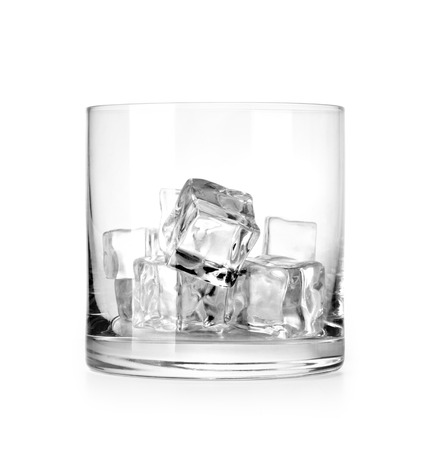 vaso vacio: Glass of ice cubes isolated on white background with clipping path