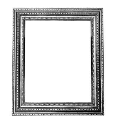 silver frame: vintage silver frame, isolated on white Background with clipping path