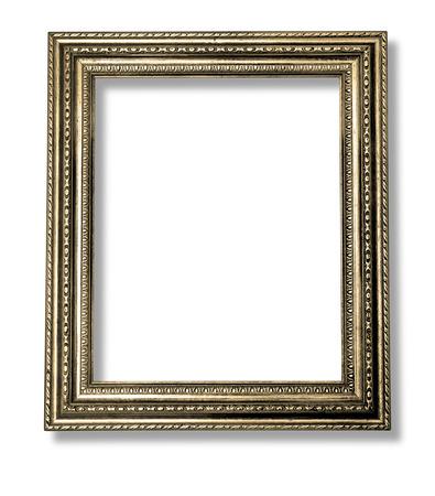 grabado antiguo: Antiguo marco de oro antiguo aislado decorativo tallado del soporte de madera antiguo Marco Negro aislado sobre fondo blanco con trazado de recorte Foto de archivo