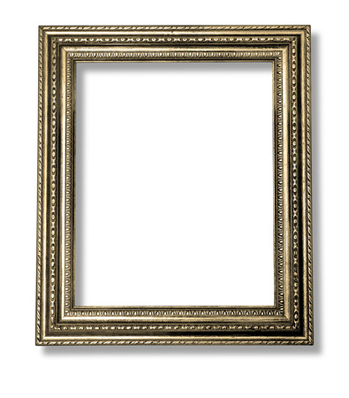 antique gold frame: Old Antique gold frame Isolated Decorative Carved Wood Stand Antique Black Frame Isolated On White Background with clipping path
