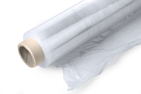 Roll of wrapping plastic stretch film on white background with clipping path