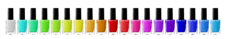 red nail colour: Group of bright nail polishes isolated on white