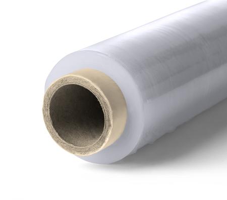 rollo pelicula: Rollo de película de enfardado plástico sobre fondo blanco