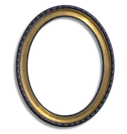 oval gold picture frame. Isolated over white with clipping path 스톡 콘텐츠