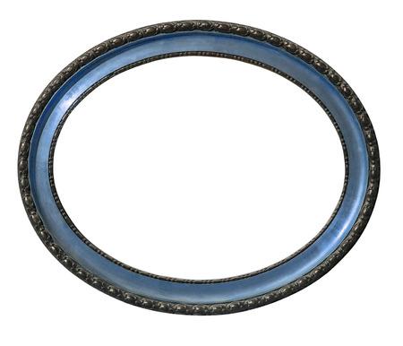 ovalo: Marco oval fondo blanco aislado de madera vieja con el camino de recortes Foto de archivo