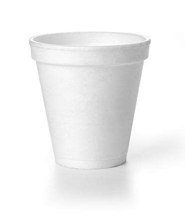 클리핑 패스와 함께 Polistren 거품 테이크 아웃 커피 컵 스톡 콘텐츠