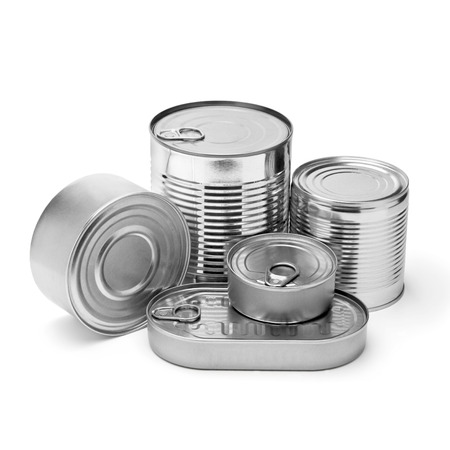 diet dinner: metal cans on a white background.with clipping path Stock Photo