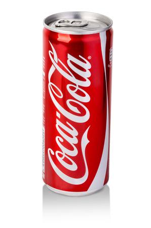 CHISINAU, MOLDOVA - November 14, 2015: coca cola can on white background. coca cola flavored soft drink created by Coca-Cola company.With clipping path