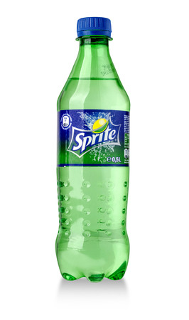 dewed: CHISINAU, MOLDOVA-November14, 2015: Bottle of Sprite drink isolated on white. Sprite is lemon-like flavored soft drink produced by Coca-Cola Company.With clipping path
