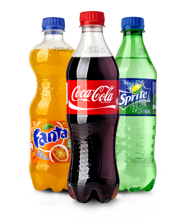 CHISINAU, MOLDOVA- November14, 2015:  Coca-Cola, Fanta and Sprite Bottles Isolated On White. The three drinks produced by the Coca-Cola Company