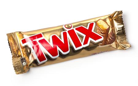 mars incorporated: CHISINAU, MOLDOVA - NOVEMBER14, 2015:Twix cookie bars isolated on white background. Twix bars are produced by Mars Incorporated. Twix name has been used since 1991