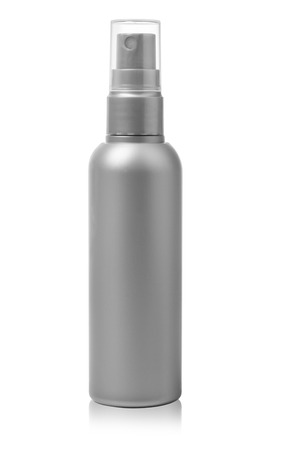 spray bottle: Gray container of spray bottle isolated over white background. With clipping path