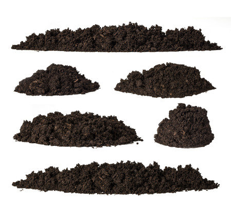 dirt: Set pile of soil isolated on white background