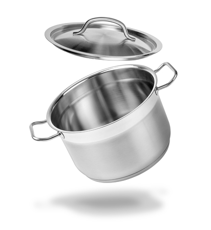 Open kitchen pot with lid isolated on white Stock Photo