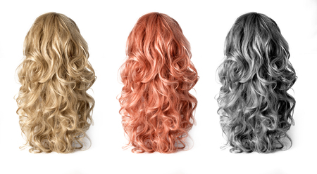 Set  of long Wigs hair isolated on white Foto de archivo