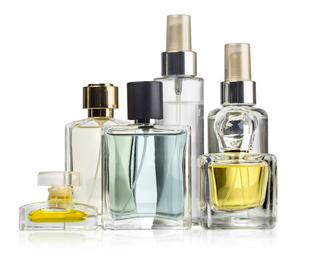 parfume: Variety of perfume bottles over white  background with clipping path