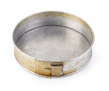 fluted: Old fluted tube baking pan isolated on white with clipping path