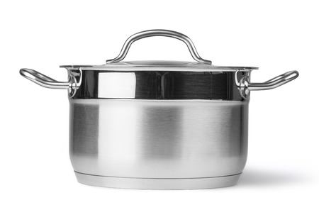 stainless steel pot: Stainless steel pot. Isolated on white background with clipping path
