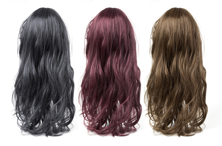 wigs: set of long curly  wigs on a white background