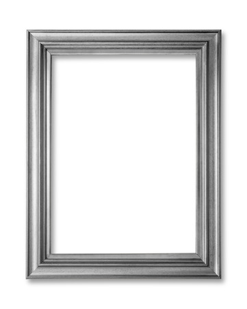 silver frame: Silver frame. Silver arts and crafts pattern picture frame. Isolated on white