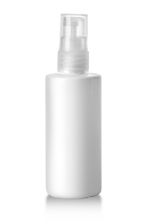 parfume: Spray Cosmetic Parfume, Deodorant, Freshener Or Medical Antiseptic Drugs Plastic Bottle White. with clipping path