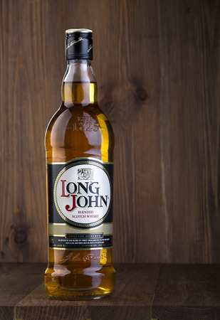 distillers: CHISINAU, MOLDOVA - February, 05, 2016.Long John is a blended Scotch whisky carefully produced in the Scottish Highlands.