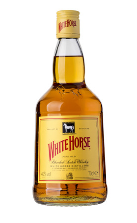 CHISINAU, MOLDOVA- December 25, 2015, White Horse Scotch Whisky is a blended Scotch whisky from Edinburgh, first produced by James Logan Mackie in 1861 Editorial