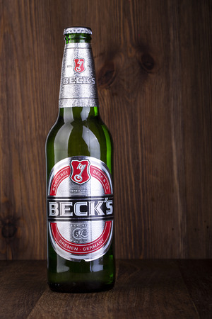 packshot: CHISINAU, MOLDOVA - February 05, 2016. Becks beer isolated on white background. Becks brewery was founded in 1873 in Bremen, Germany.