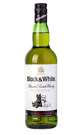 scotch whisky: CHISINAU, MOLDOVA - DECEMBRIE 05, 2015: Black & White is a blended Scotch whisky. It was originally produced by the London-based James Buchanan & Co Ltd. Whisky Black and White on white background