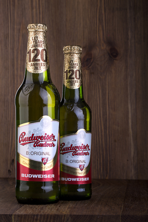 budweiser: CHISINAU, MOLDOVA - FEBRUARIE, 2016: A two  bottles of Budweiser on the wooden table  From Anheuser-Busch InBev, Budweiser is one of the top selling domestic beers in the United States. Editorial