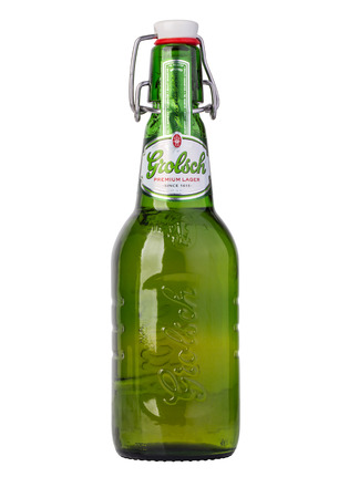 pilsner: CHISINAU, MOLDOVA - December 18, 2015: Grolsch Premium Pilsner - known internationally as Grolsch Premium Lager, is the flagship beer of Dutch Grolsch Brewery, part of the SABMiller group Editorial