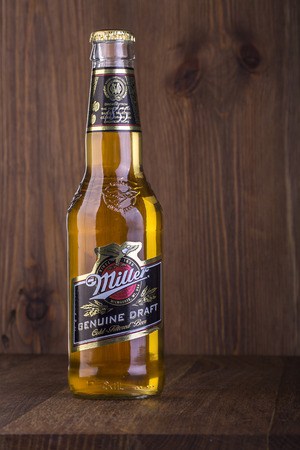 CHISINAU, MOLDOVA- February 05, 2016.  Miller Genuine Draft is the original draft beer, a product of the Miller Brewing Company owned by SABMiller. Editorial