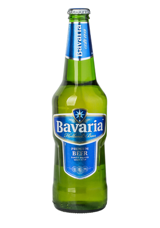 CHISINAU, MOLDOVA - December 18 , 2015. Bottle of Bavaria Premium Beer, brewed with pure mineral water. Bavaria is the second largest brewery in the Netherlands founded before 1680.