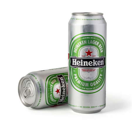CHISINAU, MOLDOVA - November 14, 2015: Cans of Heineken beer  isolated on white.with clipping path