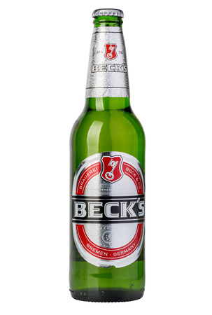 founded: CHISINAU, MOLDOVA - December 21, 2015  Becks beer isolated on white background. Becks brewery was founded in 1873 in Bremen, Germany.
