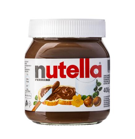 CHISINAU MOLDOVA- NOVEMBER 14, 2015: Jar of Italian Nutella hazelnuts cream made by Ferrero