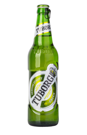 CHISINAU, MOLDOVA - December 18, 2015: Danish brewing company founded in 1873. The brewery was founded in Hellerup, a suburb of Copenhagen.