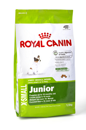 moldova: CHISINAU, MOLDOVA- November 14, 2015: 1.5 KG Pack Of Royal Caninjunior Dog Food on a White Background with clipping path